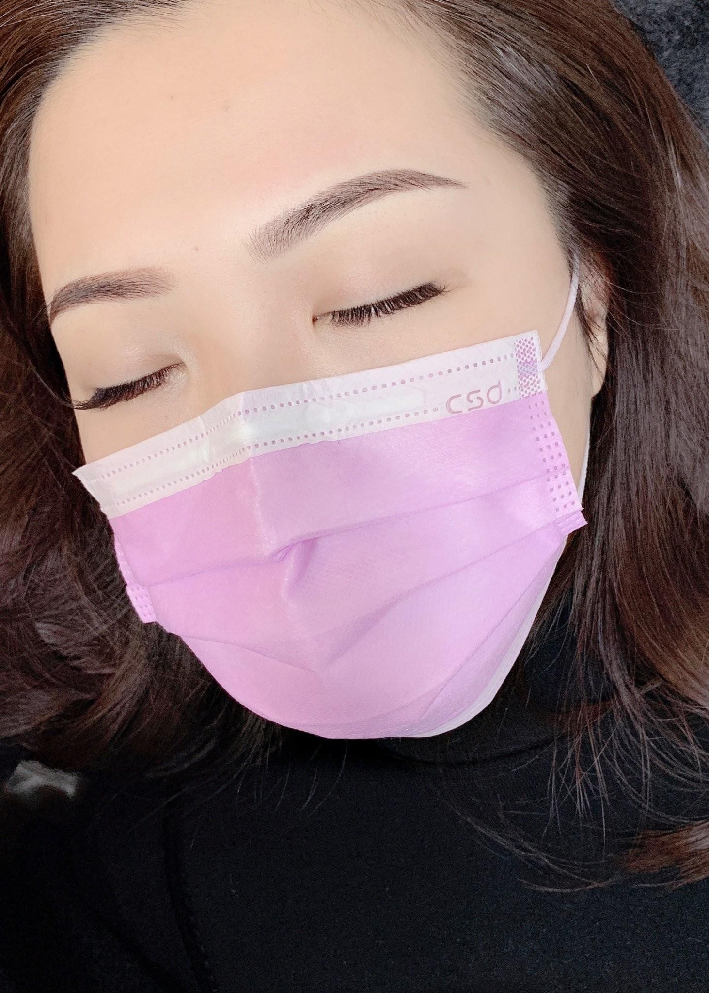 韓式粉霧眉紋繡完成當天成品照片-台北霧眉IA專業美睫設計